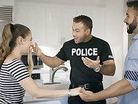 Corrupt cop takes advantage of brothers young babe fiance