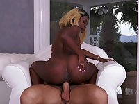 Black hottie treats the white dick with lust