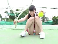 Cute Japanese teen shows her goods