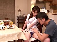 Japanese lady with big tits grinds cock with hairy pussy