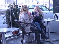 Two luscious Czech chicks are picked up and fucked hard by one horny dude