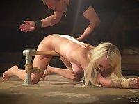 Bondage slave girl tied up pussy fingering punishment