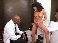 Brunette ebony babe Sasha Simmons sucks and rides a big black dick