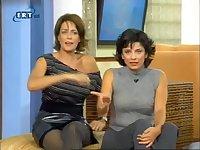 Upskirt pantyhose brunette on tv