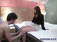 Sexy Japanese chick Ayumi Mukojima gets her pussy fucked and creampied