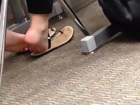 Candid College Cheerleader Feet in Class 4