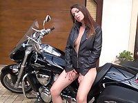 Kinky biker babe Caroline Ardolino desires to pet her twat in sensual mode