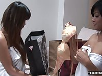 Amazing Thai lesbo Bunny is really happy to use dildo to please her friend