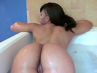Ebony lesbian babes Myeshia Nikole and Aryana Adin have fun in the tub