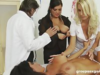Hardcore group sex orgy with Charlie Monaco at the doctor's office