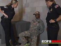 Big-Breasted milfs in uniform sucks huge male stick