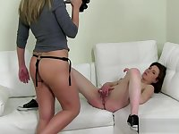 Casting cutie straponfucked at her interview