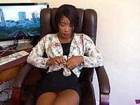 Ebony secretary Kiki Minaj gives a blowjob and gets a mouthful of sperm