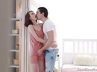 Stunning teen Miss Nimpho is sucking boyfriend's cock before heavy pounding