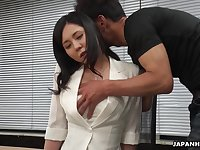 Workaholic Miyuki Ojima flashes her hairy pussy and gets teased right away