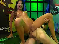Cum covered slut gets fucked up the ass