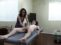 Cfnm brunette gives handjob