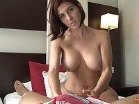 Busty MILF Valeria Blue gives nice blowjob titjob combo before fucking