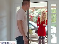 Lady in red Kit Mercer fucks her neighbor and that chick got some big tits