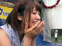 Amateur video of shy Wakaba Onoe giving a blowjob to a stranger