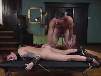 Redhead hottie Tana Lea tied up to a table and fucked by her lover