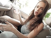 Slutty stepdaughter Uma Jolie gives a splendid blowjob in the car