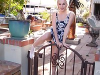 Skinny blonde Lexi takes off her panties in outdoors to tease