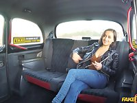 Amateur slut Yasmeena takes off her panties to be fucked in the taxi