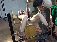 Pussy fingering and poking with a fuck machine for tied up Aika May