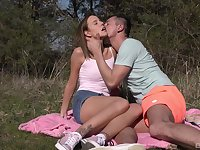 Outdoor fun with cock for a skinny shy teen on fire