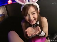 Kinky Japanese amateur with bunny ears gives an amazing blowjob