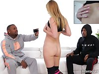 Energized blonde is ready for a double dose of black dick