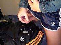 Satin Nylon Shorts Denim Jeans Jacket Jerk Cum Spit