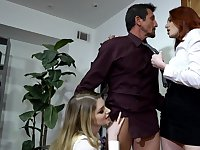 Charming sluts at the office are keen to make out with their boss