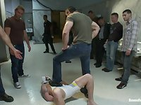 Bound in Public. The wrestler gets gang banged by a horny crowd in a public restroom for losing his match