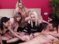 Sensual women are having a wild time sharing CFNM porn