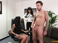 Naked guy gets his dick pleasured by Bluebell and Chantelle Fox