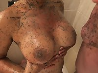 Delicious Coffee Straw With Milk In The Shower With My Latina With Big Tits And Round Ass