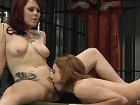 Jail cell lesbian lovemaking for Lexi Belle and Misty Dawn