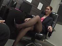 Japan office MILF is intrigued about a hard fuck after this foot fetish