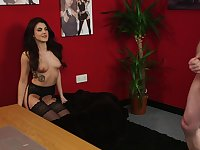 Tantalizing Taylor T. watches a guy perform a naked male cam show