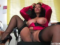 Foxy mature Danica Collins plays with her giant tits and pussy