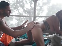 Kind hunter with a beard is lucky to fuck the sun-kissed babe