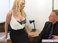 Wondrous blonde sexpot Victoria Summers is happy to fuck in the office