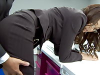 Bends over for an ass fucking at work