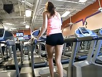 Risky public gym masturbation