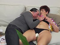 Short haired mature amateur granny Karina W. pussy fucked from behind