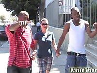 Slutty MILF Katie Thomas fucked and cum sprayed by two black cocks