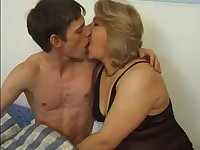 European Mature MILF seducing a young boy to fuck her