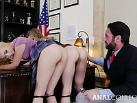 Looks like bad girls do have more fun and these coeds love their dean's cock